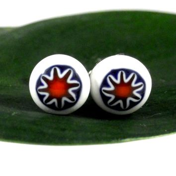 Southwestern Stud Earrings, Blue Orange, Fused Glass, Surgical Steel