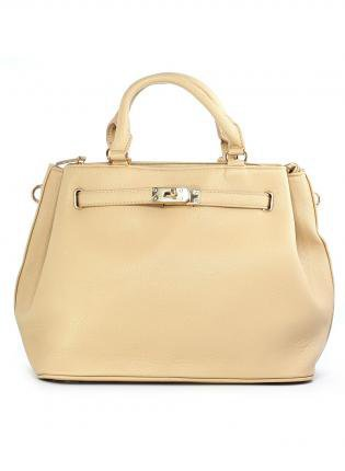 Nude Bag with Fold Over Front and Gold Hardware
