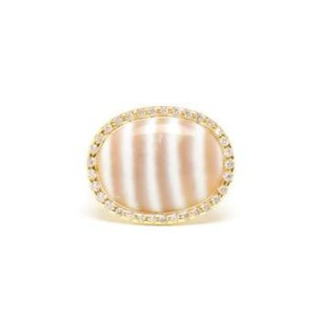 KIMBERLY MCDONALD   Yellow Gold and Chalcedony Ring   Browns fashion & designer clothes & clothing