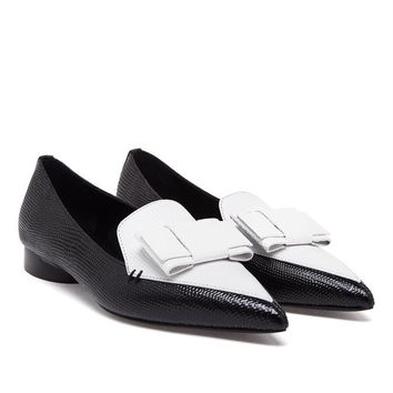 ERDEM   Monochrome Pointed Loafers with Bow Detail   Browns fashion & designer clothes & clothing