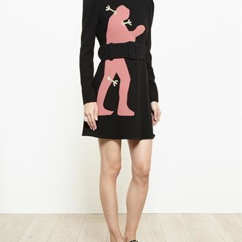CARVEN   Virgin Wool Dress with Silhouette Applique   Browns fashion & designer clothes & clothing