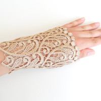 Wedding Gloves, lace cuff, bridal cuff, gold cuff, Lace Cuffs, Lace Wedding Accessory, Bridal accessory, Fingerless Gloves,