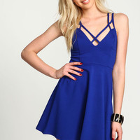 Royal X Straps Flare Dress