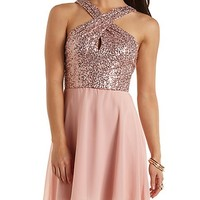Sequin & Chiffon Crossover Halter Dress - Blush Combo