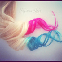 Blonde and Pastel dip dyed clip in extensions