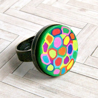 crazy quilt polymer clay and antique bronze adjustable cabochon ring, rainbow, hippie, colorful