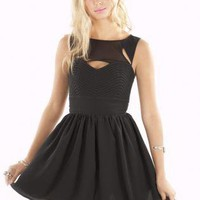 Black Sleeveless Skater Dress with Cut Out Front Detail