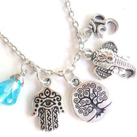 Tree of Life Hamsa Sacred Elephant Necklace Om Namaste Yoga Jewelry Protection Jewelry Blue Charm Necklace Unique Gift Under 50 Item T35