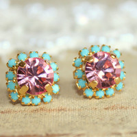 Crystal stud pink earring - 14k plated gold post earrings real swarovski rhinestones .