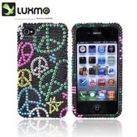 Order the iPhone 4 Bling Case Colorful Peace Black AccessoryGeeks Ship Free