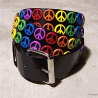 Rainbow Stud Peace Sign Belt - PLUR! - The BEST prices on rave clothes and accessories here at Rave Ready!