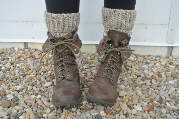 crochet boot cuff boot socks leg warmers in oatmeal tweed