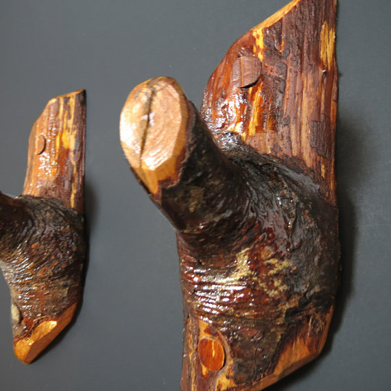 Wall Hooks Wall Decor Pair Wood Hooks From Creativewoodcraft