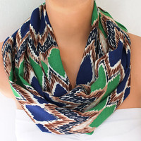Infinity Scarf Loop Scarf Circle Scarf Cotton scaf Cowl Scarf Soft and Lightweight Chevron Zigzag