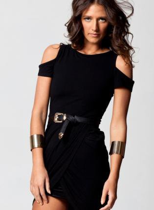Black Bodycon Dress with Cutout Shoulders