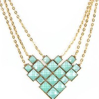 Gold/Mint Diamond Shape Statement Necklace