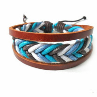 bangle leather bracelet ropes bracelet women bracelet men bracelet fashion bracelet made of leather and ropes cuff bracelet SH-0203