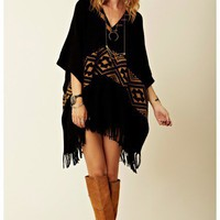 Minnie Rose - Cotton Navajo Jacquard Poncho