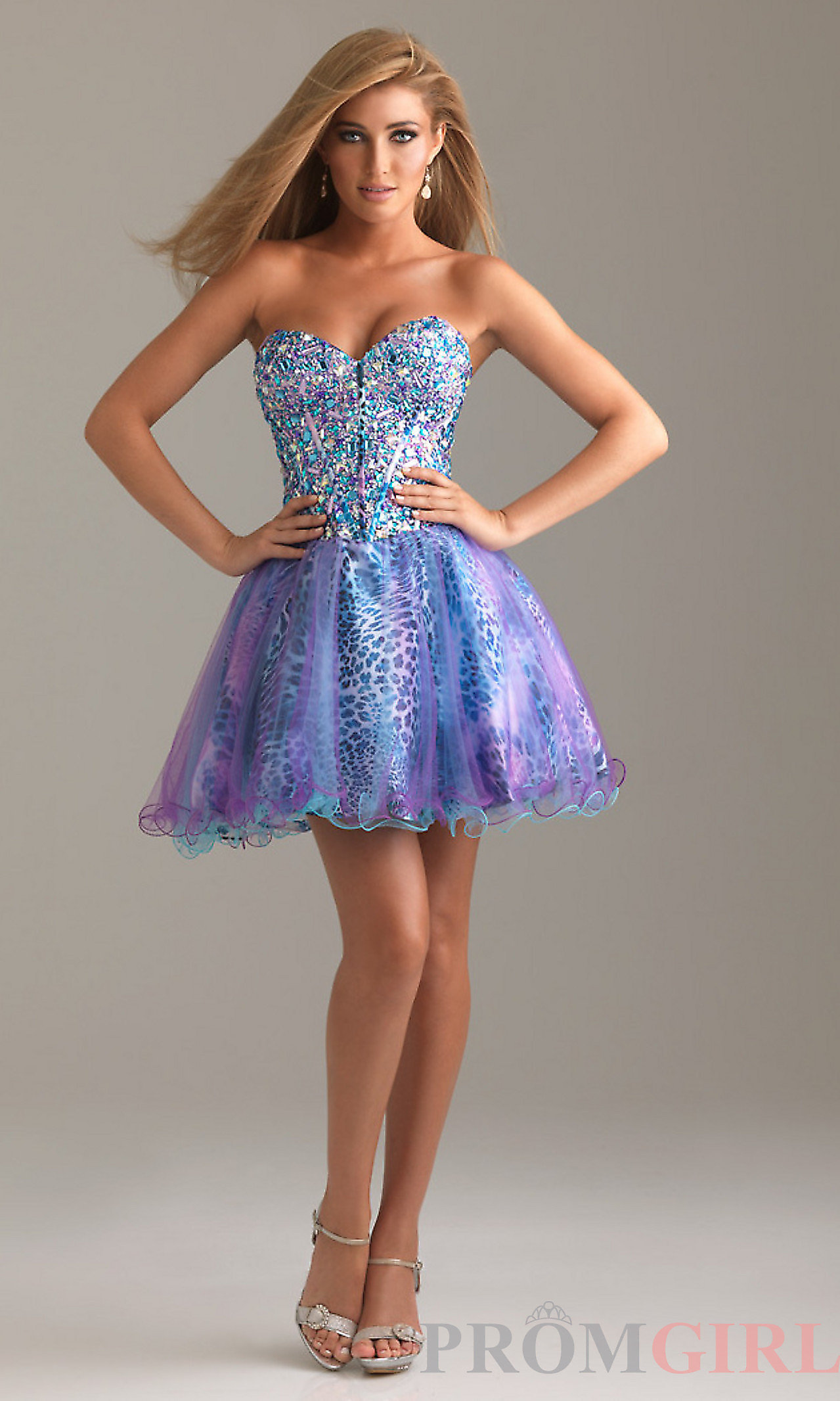 Short Strapless Prom Dress with Animal from PROMGIRL