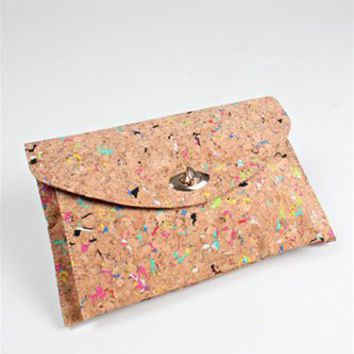Splatter Paint Cork Clutch