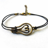 jewelry braceelt  Women bracelet girl bracelet antique bronze bulb bracelet leather bracelet ,bulb cuff  bracelet wrist SH-0183