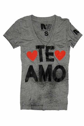 Rebel Yell Te Amo Rocker Tee in Heather Gray