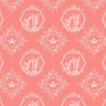 Fairy Tale Castle Crown on Coral - 13moons_design - Spoonflower