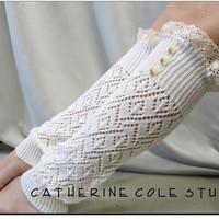 Open crochet knit leg warmers ivory / womens diamond knit  great with cowboy combat boots by Catherine Cole Studio legwarmers open work