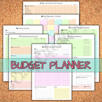 Yearly BUDGET KIT Pastel. Financial Binder and organizer. Bills, Savings and Expenses tracker. Daily, Monthly, Yearly Budget planner. 7 docs