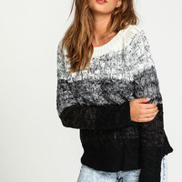 Black Ombre Cable Knit Sweater