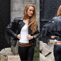 La Femme Noir, Incredible Vintage Black Leather Jacket, with Fringe Detail and Studs from Paris