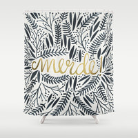 Pardon My French – Black & Gold Shower Curtain by Cat Coquillette