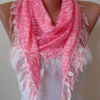 Pink Leopard Scarf - with Trim Edge Shaped Leaves - Summer Collection