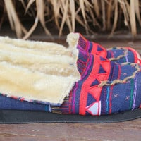Riley Tribal Womens Mocassin Slippers in Blue Ethnic Akha Embroidery