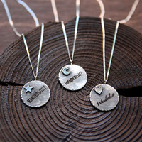 Custom Laser Engraved Oxidized Sterling Silver Coin by 141ATELIER