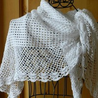 White Crocheted Wedding Shawl