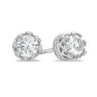 Child's 4.0mm Lab-Created White Sapphire Crown Earrings in Sterling Silver