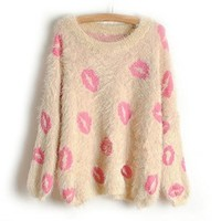Sweet Pink Kisses Fuzzy Sweater