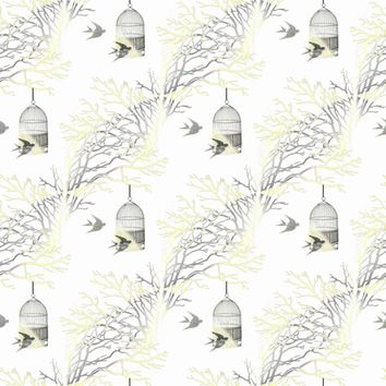 Bare Branches Birdcage Yellow Gray - 13moons_design - Spoonflower