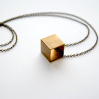 Large Cube Necklace - Handmade Jewelry - Free Shipping in the US