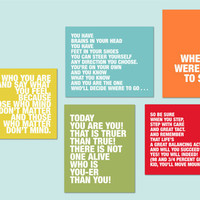 Dr. Seuss Quotes - Set of five prints for modern nursery or playroom - 8&quot;x10&quot;
