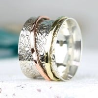 Decorative Mixed Metal Spinning Ring