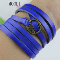 Blue Leather Woven Bracelet Jewelry Bangle Cuff With Bronze Alloy Buckle Adjustalbe B626