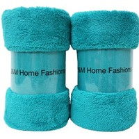 J & M Home Fashions Bright Fuzzy Fleece Throw, 50 by 60-Inch, Teal, 2-Pack