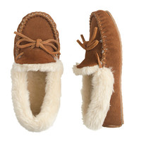 Suede Shearling Lodge Moccasins