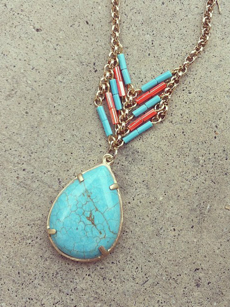 Turquoise Heishi Pear Necklace [3152] - $23.00 : Vintage Inspired Clothing & Affordable Summer Dresses, deloom | Modern. Vintage. Crafted.