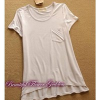 Women Euro Style New Small Pocket Comfortable Cotton Casual All Matched White T-Shirt One Size@II1001w $6.99 only in eFexcity.com.