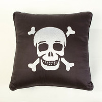 Jolly Roger Skull Throw Pillow - Pirate Bedding by Sin in Linen