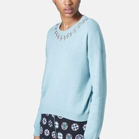 Women's Topshop Crystal Necklace Sweater