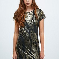 Urban Renewal Vintage Remnants Metallic Tee Dress in Black and Gold - Urban Outfitters
